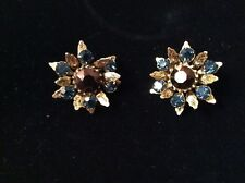 BEAUTIFUL SIGNED PAIR OF GRAZIANO EARRINGS WITH BLUE AND AMETHYST STONES