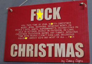 Naughty F*ck Christmas Sign  - Xmas Decorations Tree Lights Gift Cards Santa