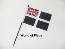 "CORNWALL ENSIGN SMALL HAND WAVING FLAG 6"" x 4"" Cornish Crafts Table Desk Display"