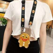 Pig Gingerbread Man Cartoon Wallet Case Strap For iphone 12 11 Pro Max XS XR 8+