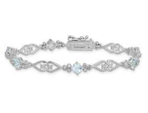 Sterling Silver Rhodium Plated 1.75 Carat (ctw) Aquamarine Bracelet