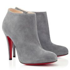 Christian Louboutin BELLE Grey Suede Leather Ankle Boots 36.5 100mm Heel