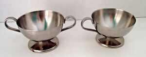 Sugar Creamer Silverplate Bowl Simple Tableware Vtg Set Pair Mid Century Metal