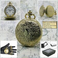Gold Pocket Watch Antique 42 MM Unisex with Fob Curb Link Chain and Gift Box 175