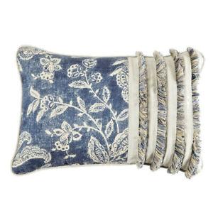 Croscill Gavin Boudoir Throw Pillow Lumbar Breakfast Blue 19x13 Fringe Dorm Room