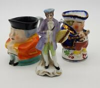 2 Miniature Toby Jugs C1920 And A Miniature Figurine (With Gold Anchor Mark).