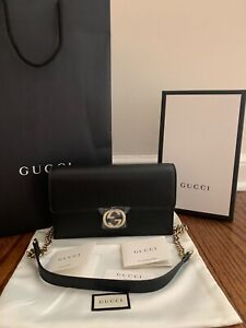 Brand New GUCCI GG Crossbody Wallet On Chain Black Leather Shoulder Bag