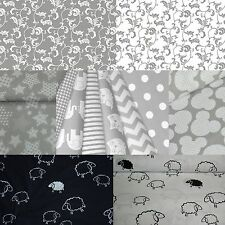 "100% Cotton Fabric Grey/White *STARS*ELEPHANTS* 63"" Wide 160 cm FQ or Half Metre"
