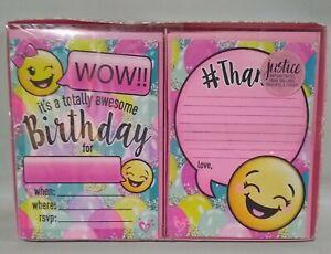 Emoji Birthday Party 8 Invitations & 8 Thank You Stickers + 16 Envelopes