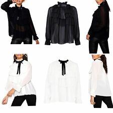 Ladies Bow Tie Chiffon Blouse Frill Ruffle Collar Long Sleeve Top Shirts