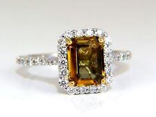 2.60ct natural vivid golden sapphire diamonds ring 14kt halo classic