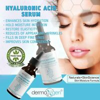 HYALURONIC ACID 100% Pure Anti Aging Hydrating Serum, Plumps Wrinkles Fine Lines