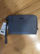 DKNY Donna Karen Nickle Gray Nappa Leather Wristlet Clutch Wallet NWT $95 NEW