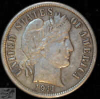 1911 Barber Dime, Extremely Fine+ Condition, Free Shipping in USA, C4993