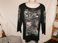 NWT Route 66 Long sleeve Black knit top w rhine stones  Size L