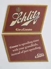 Beer Pub Coaster ~ SCHLITZ Brewing Co ~ Milwaukee, WISCONSIN ~ Go for the Gusto!