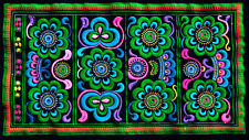 Chinese miao hmong machinemade tribal embroidery Green and Blue World