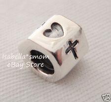 Authentic PANDORA Silver FAITH~HOPE~LOVE Heart/Anchor/Cross Charm 790119 NEW