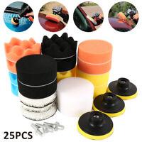 "25X 3"" Buffing Waxing Polishing Sponge Pads Kit For Car Polisher Drill willkey"
