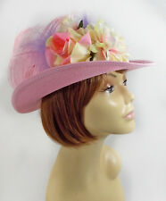 PINK DERBY HAT W/ FLOWERS & FEATHERS LADIES OF SOCIETY OR DERBY DAY