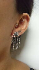 Boucles d'oreilles paire mains os squelette argenté psyckobilly pinup originales