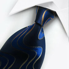 New Blue Gold Pattern Silk Tie WOVEN JACQUARD Mens Tie Leisure Necktie ST074