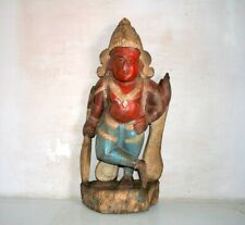 Statue Hindu Lord Vishnu 1800's Rare Old Wooden Hand Carved Painted Figure
