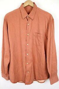 Tommy Bahama Mens Sz Large Orange Silk Wool Blend Long Sleeve Button Up Shirt