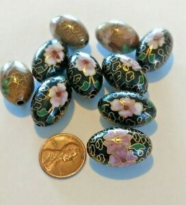 Super Vintage BIG Cloisonne Beads 23 x 15 MM Black and Bronze Mix Of Beads A ++