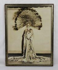 Antique 1920's Photograph of Art Deco Nouveau Peacock Hat Dancer Fashion