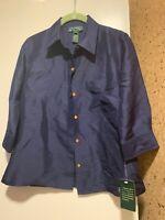 NEW Lauren by Ralph Lauren NEW Dark Blue Size 4P Silk Button Down Shirt
