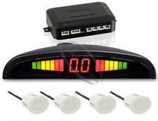 Auto KFZ 12V LED Einparkhilfe Rückfahrwarner Parkassistent mit 4 Sensoren Weiß