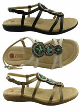Buckle Flat (0 to 1/2 in.) Leather Casual Sandals & Flip Flops for Women