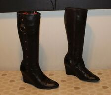 Brown Leather IS Zip Studs Mid Calf Wedge High Heel Casual Boots Size 5 / 38