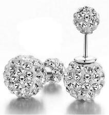 Crystal double Ball Silver Stud earrings backs Fashion earings white Gold Filled