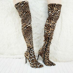 Mark Leopard Stretch Pointy Toe Stocking High Heel Thigh High Boots 7-11