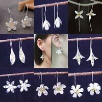 Fashion Silver Flower Pearl Drop Dangle Earrings Women Long Ear Hook Jewellery