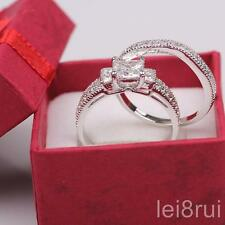 Size6 Simulated Diamond Real 18k White Gold Filled Wedding Couple Rings Set