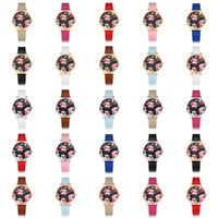 Fashion Women's Analog Red Roses Dial PU Leather Band Round Quartz Wrist Watch