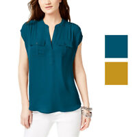 INC International Concepts Womens Mixed-Media Utility Shirt