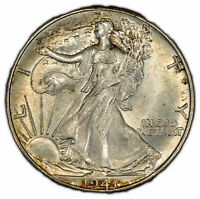 1941 50c Walking Liberty Half Dollar - Light Original Toning - UNC - SKU-X553