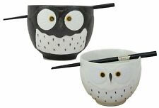 Whimsical Ceramic Black And White Owl Ramen Soup Bowl With Chopsticks Set of 2