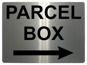 983 PARCEL BOX Arrow Right Metal Aluminium Plaque Sign Door House Office Letters