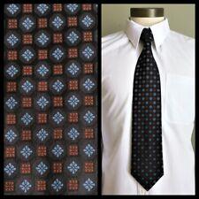LINEAGE mens woven silk necktie brown squares blue diamonds foulard black tie