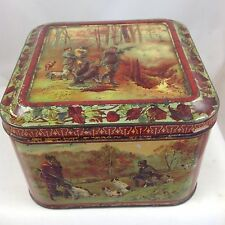 "HUNTLEY AND PALMER  ""WITH DOG AND GUN"" BRITISH BISCUIT TIN c1899"