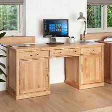Mobel Oak Large Twin Pedestal Computer Desk Hidden Office