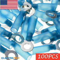 """100x Blue Heat Shrink Wire Connector Electrical 1/4"""" Ring Crimp Terminal 16-14GA"""
