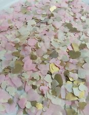 5000 Confetti HEART Light pink, ivory and gold Wedding /party biodegradable