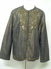 Chico's Jacket Size 3 Large Bronze Blue Denim Ruffled Beaded and Embellished