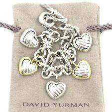 David Yurmam 18K Dangling Cable 5 Hearts Charm Figaro Toggle 925 Bracelet $1450
